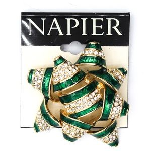 Napier Vintage Jewelry Sparkly Bow Brooch Pin Gift